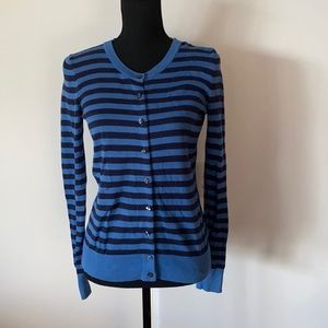 Tommy Hilfiger Womens Knit Cardigan Stripe Blue 100% Cotton Pima Small Pre Owned